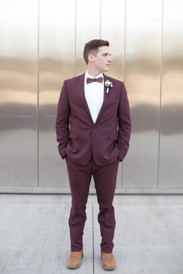 Maroon suit for the groom