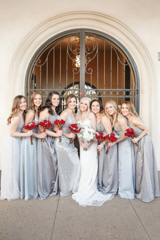 Bridesmaids in silver and blue