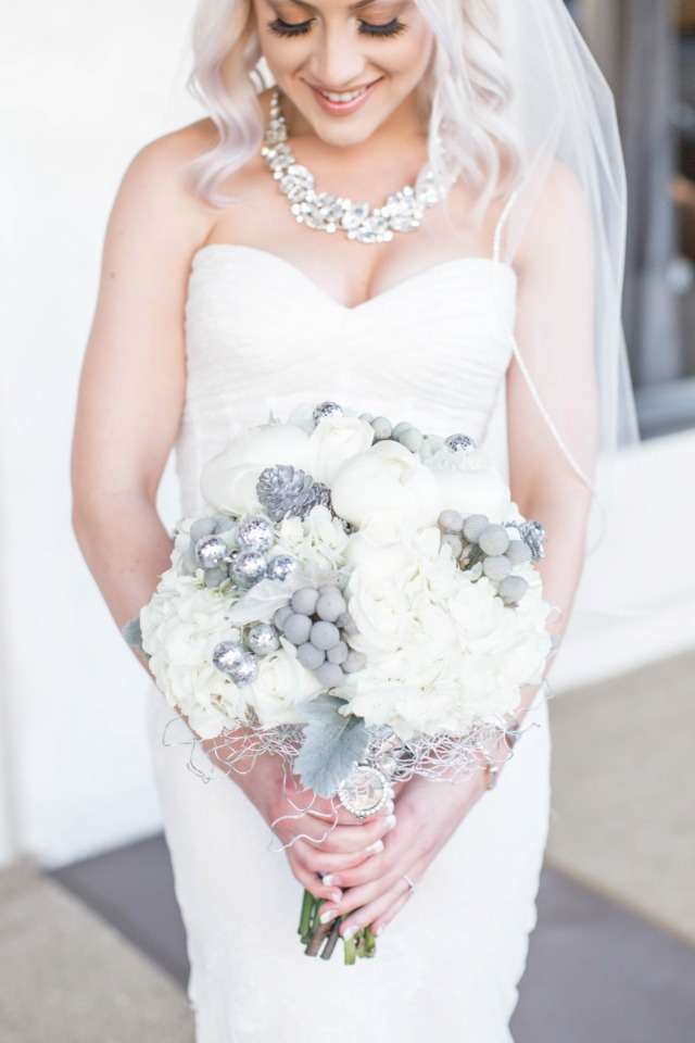 White, silver and grey bouquet
