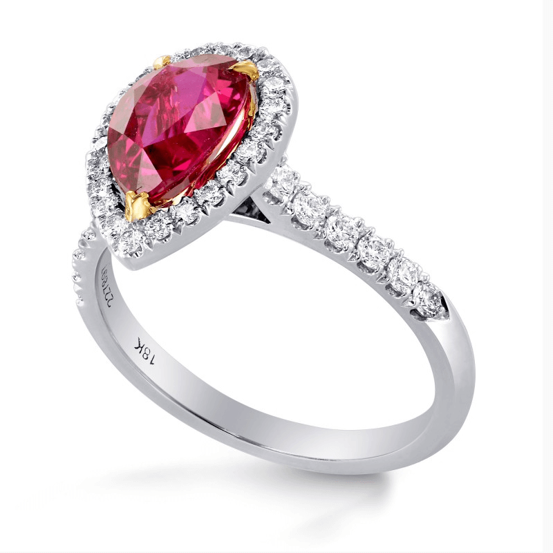 pear cut ruby and diamond ring from Leibish & Co
