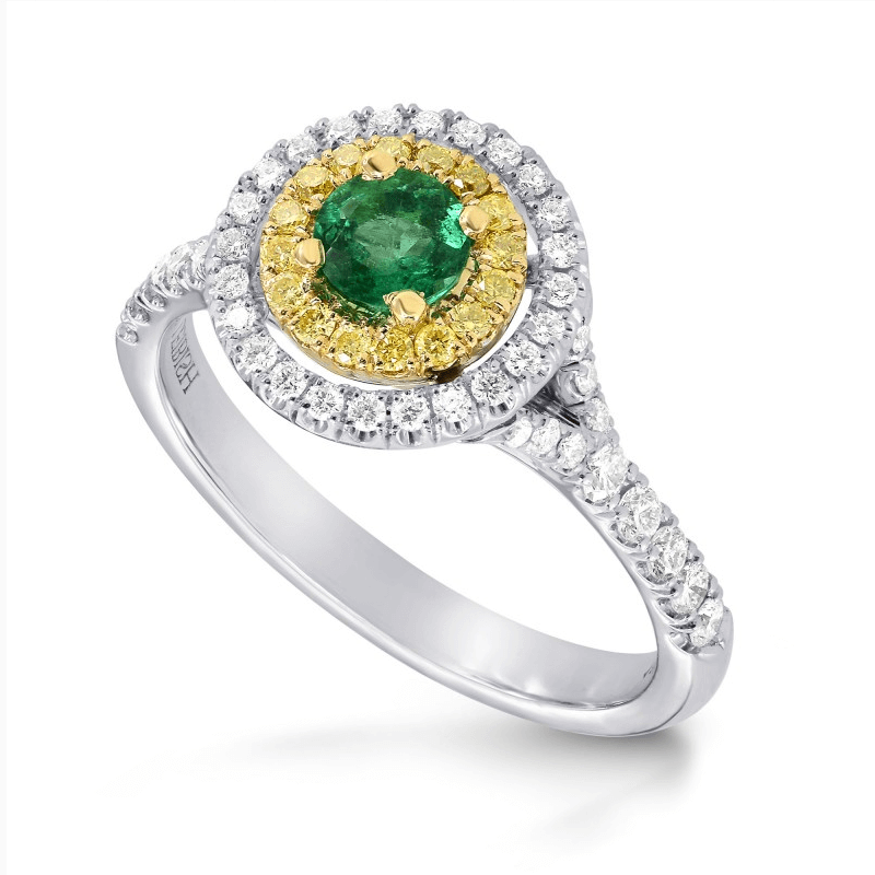 emerald, yellow diamond and white diamond ring from Leibish & Co