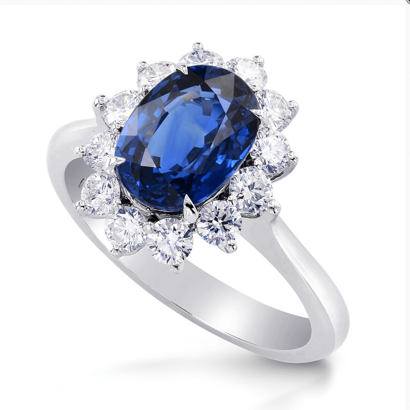 sapphire and diamond halo ring by Leibish & Co