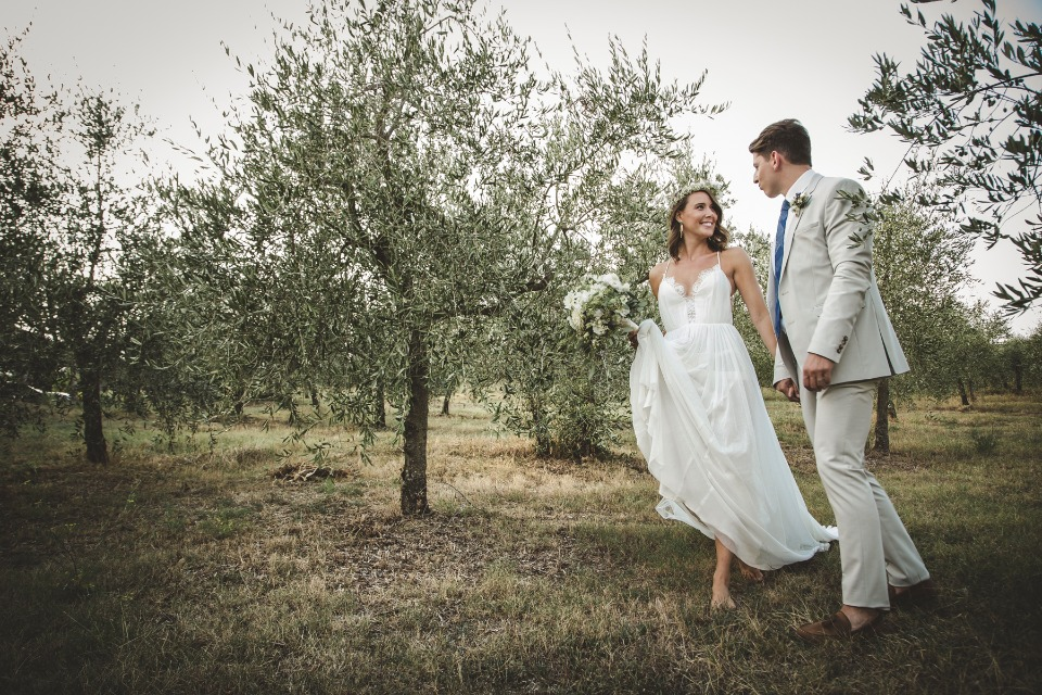 orchard bride and groom photo session