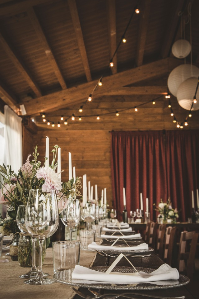 candle lit wedding reception