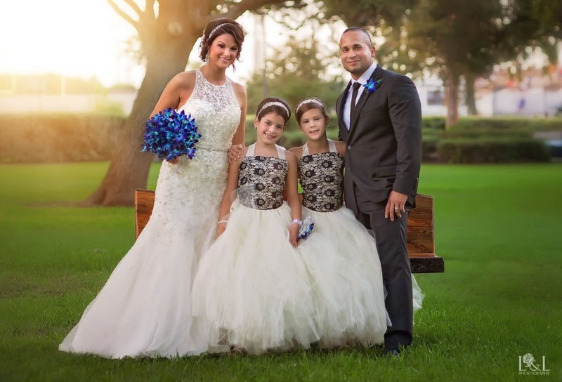Gorgeous ivory and black lace flower girl dresses. Photo compliments of the bride...