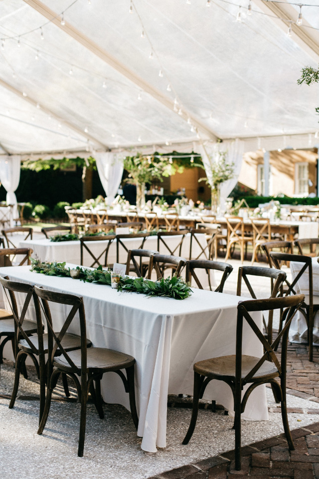 naturalistic wedding reception with bistro lights