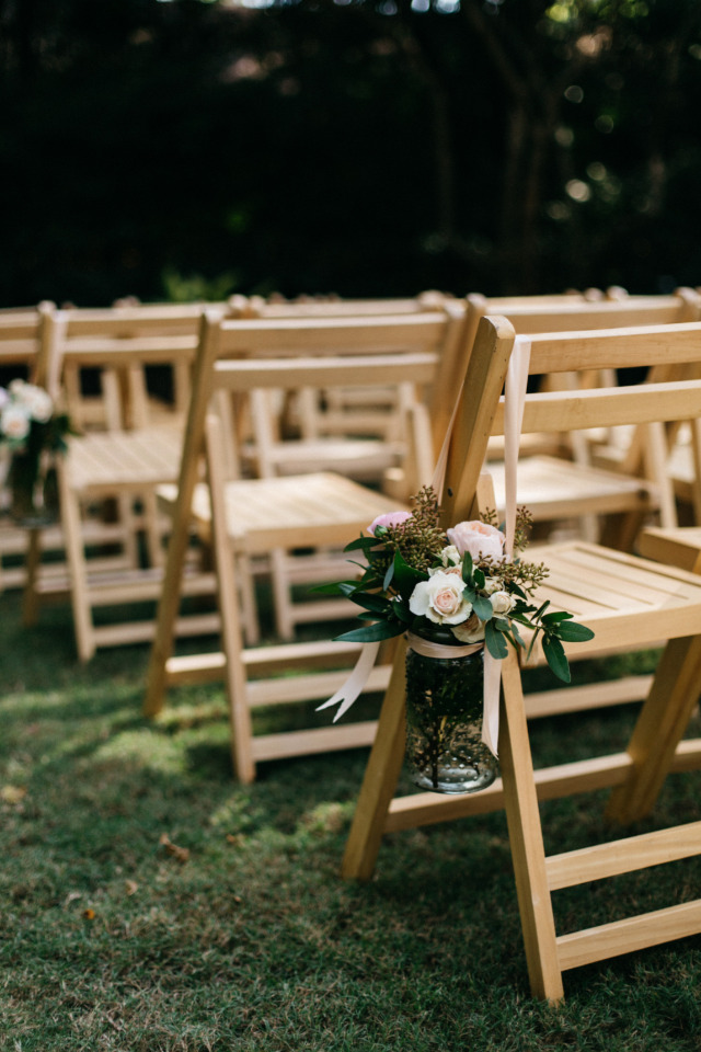 natural wood wedding ceremony chairs