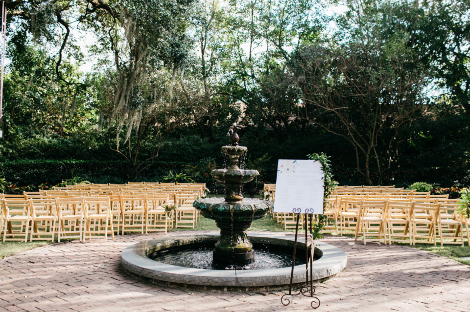 wedding ceremony venue with fountain