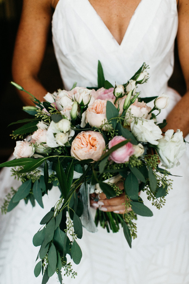 peach pink and white wedding bouquet