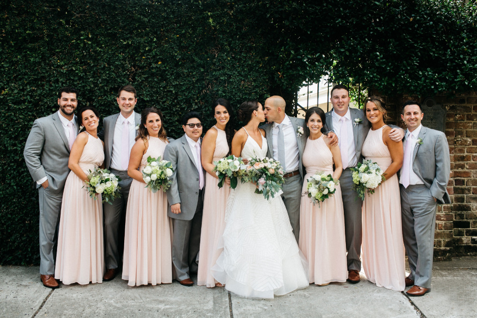 pink and grey wedding party outfits