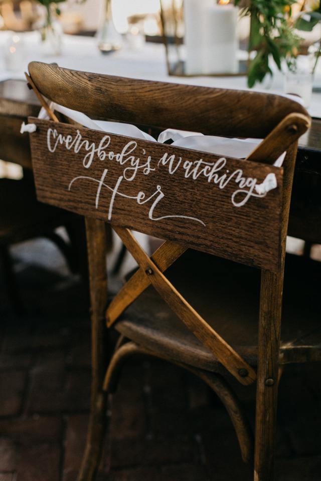 everybody's watching her wedding bride chair sign