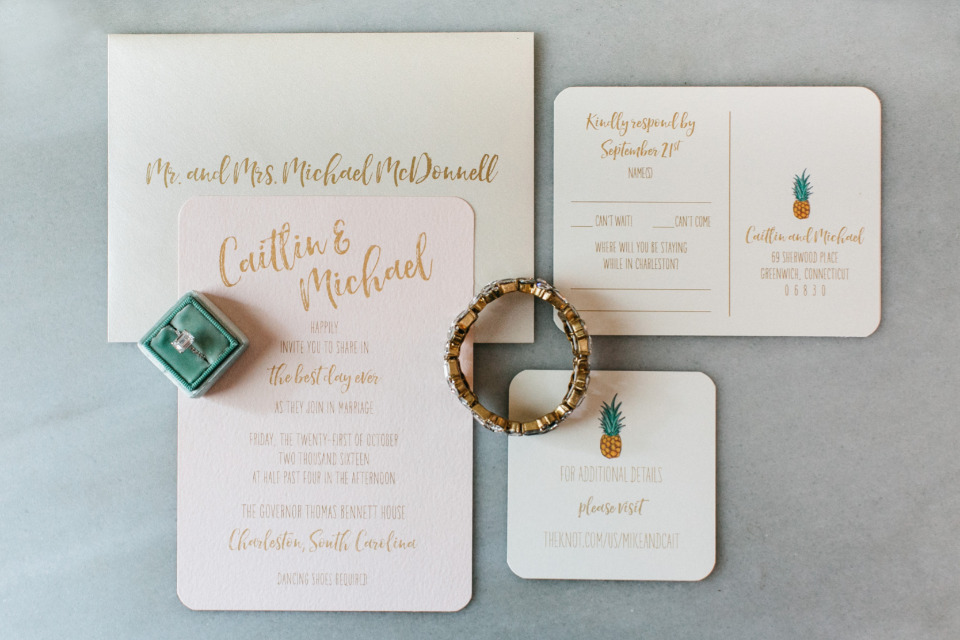 pink and god pineapple wedding stationery