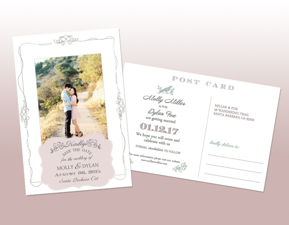 free custom vintage postcard save the date