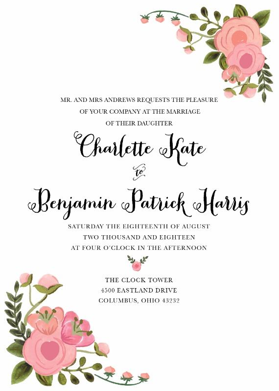 peach flowers custom free invite