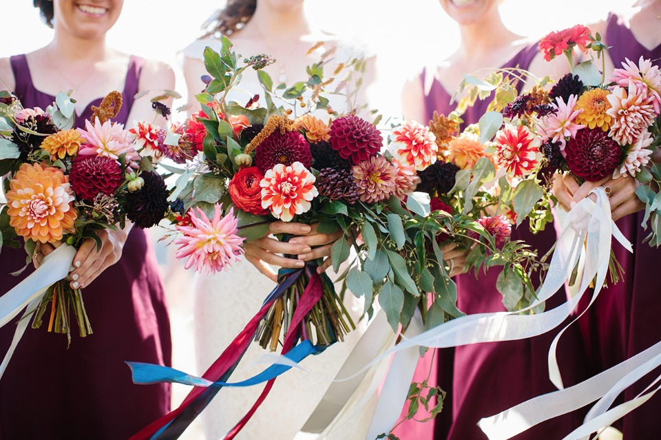 Ribbon tied bouquets