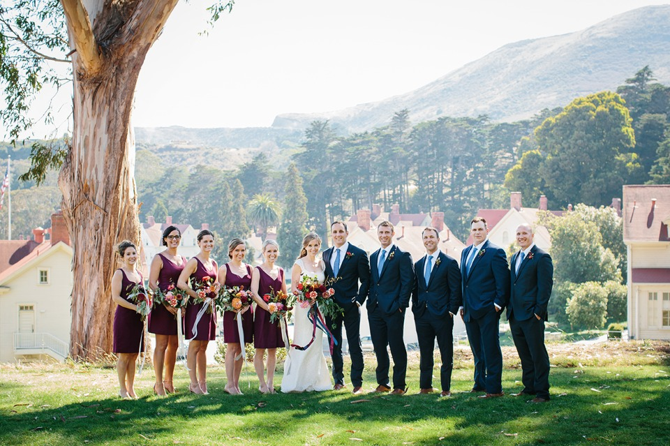 Chic wedding party in navy and burgundy