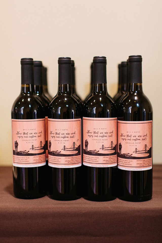 Custom red wine for the bride and groom