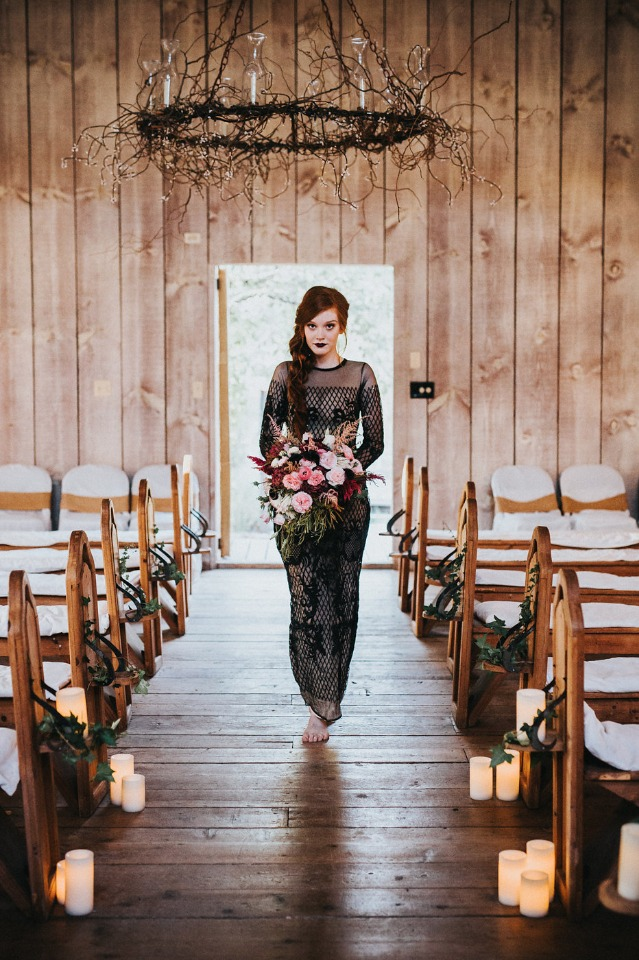 black and nude wedding after party dress