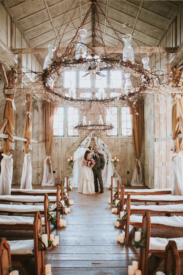 rustic old world chic wedding ceremony decor