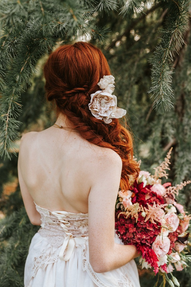 side swept braided wedding hair