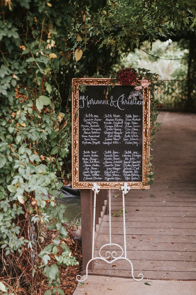 framed seating assignment sign