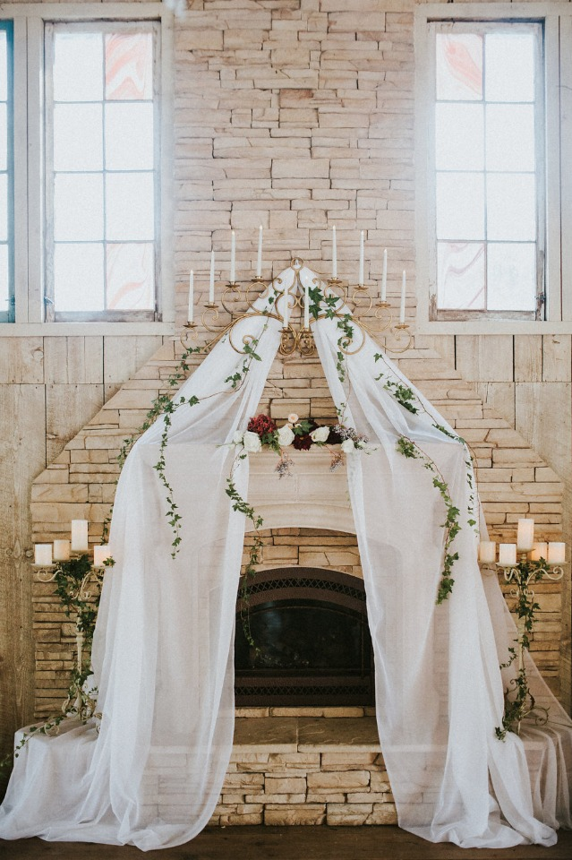 tulle drapped wedding backdrop