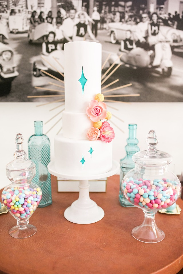 Mid Century inspired bridal shower cake
