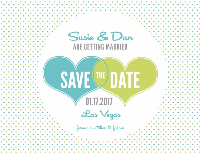 Print: Hearts and Polka Dots Free Printable Save the Date Cards