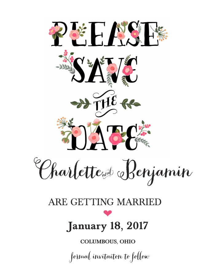 Free Printable Peach Flowers Save The Date Card