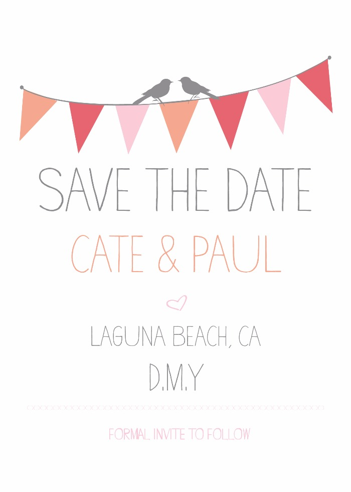 Print: Bunting Free Printable Save the Date