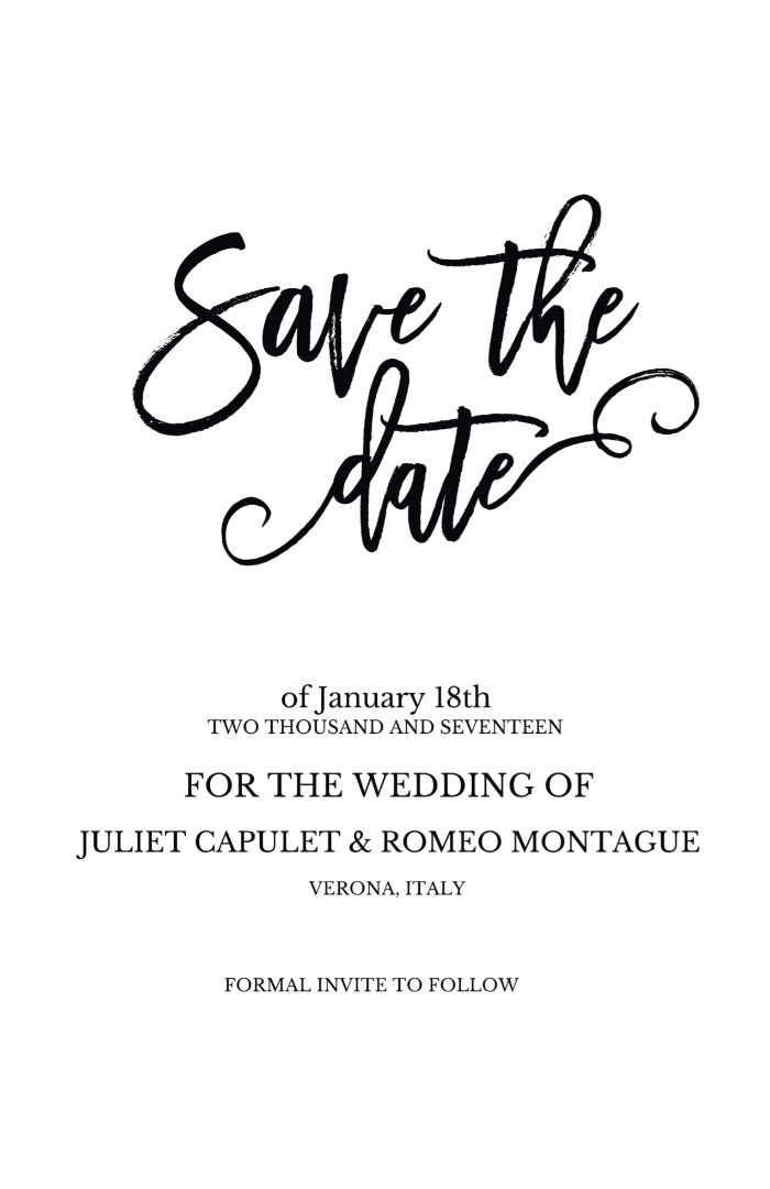Print: Romeo + Juliet Free Wedding Printable Invitatino Suite
