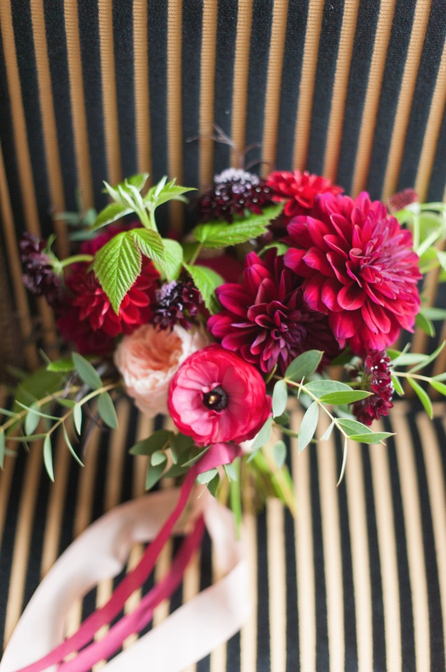 bright pink and maroon wedding bouquet