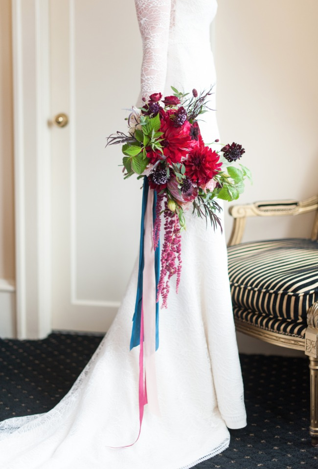 bright fuchsia wedding bouquet