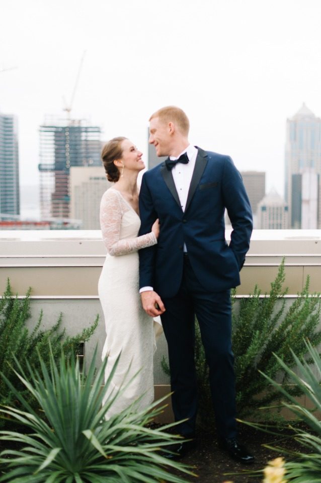 Bride and Groom at Seattles Pacific Tower