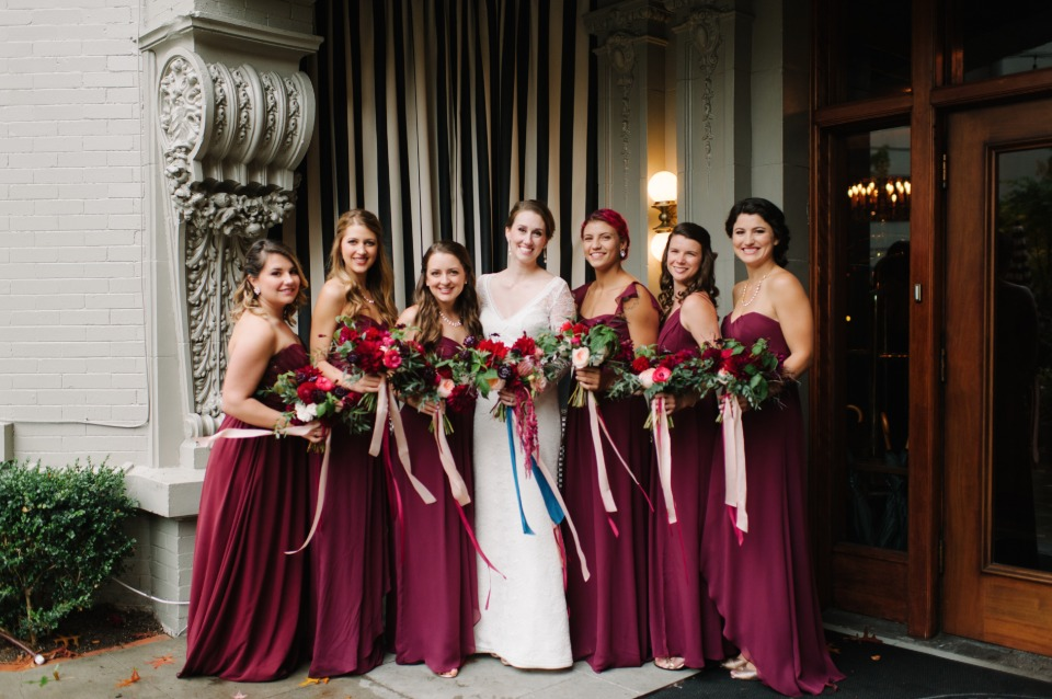 maroon floor length bridesmaid dresses