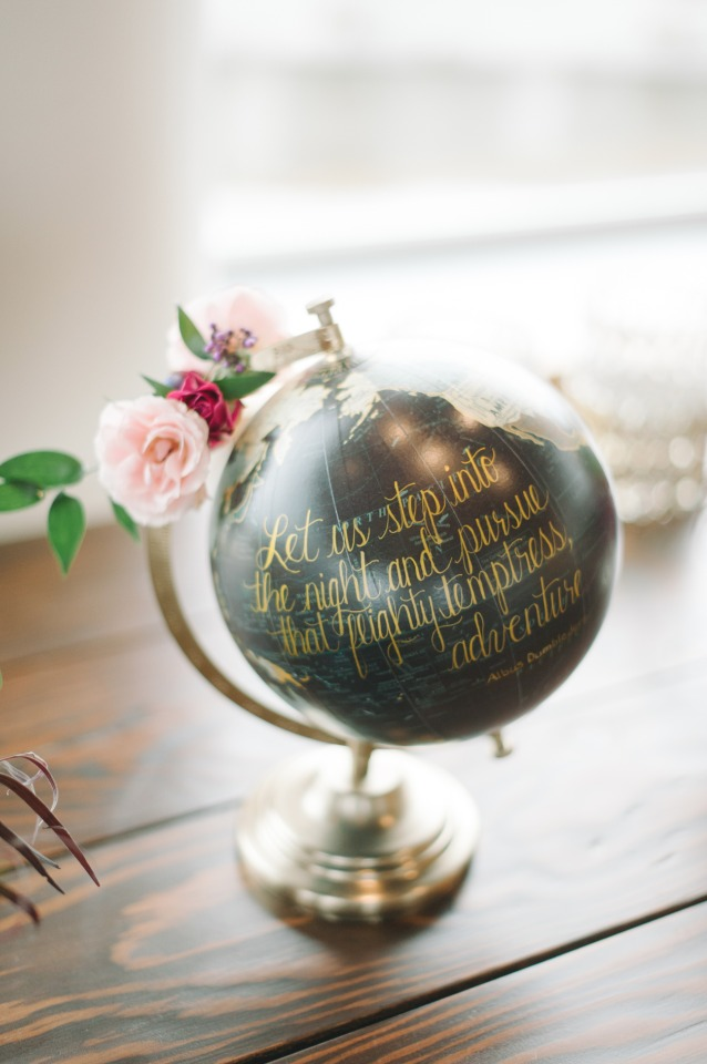 globe and quote travel decor idea
