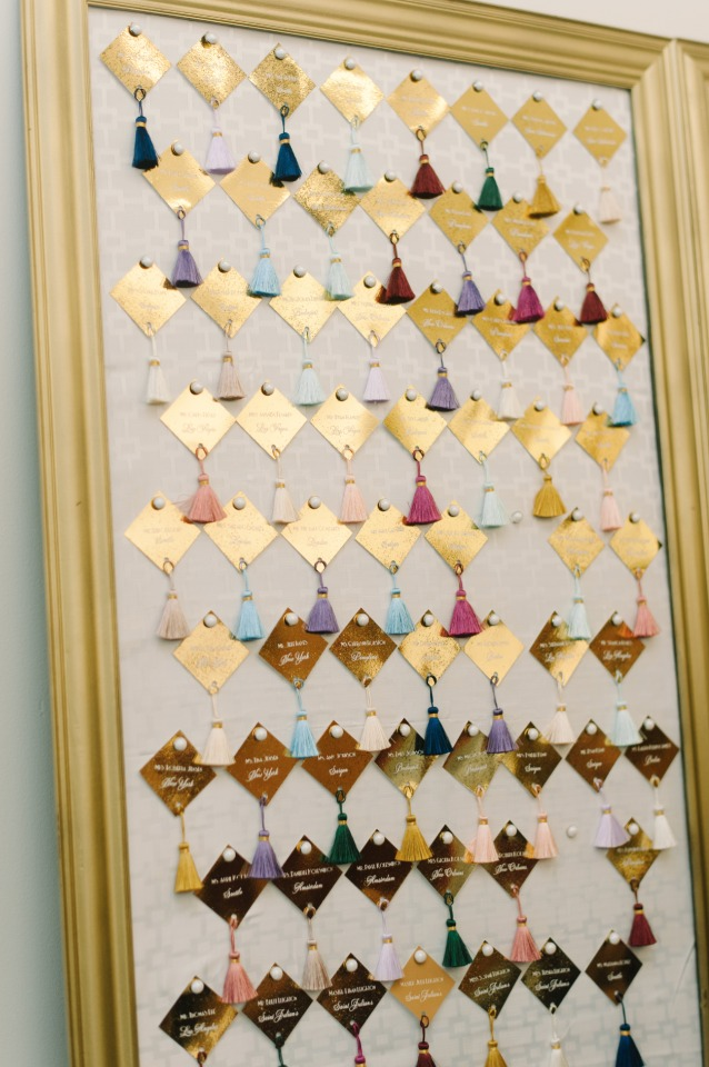 gold and tasseled escort cards
