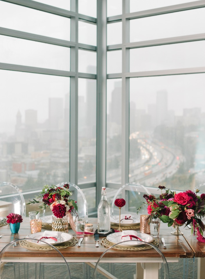 wedding reception with a view