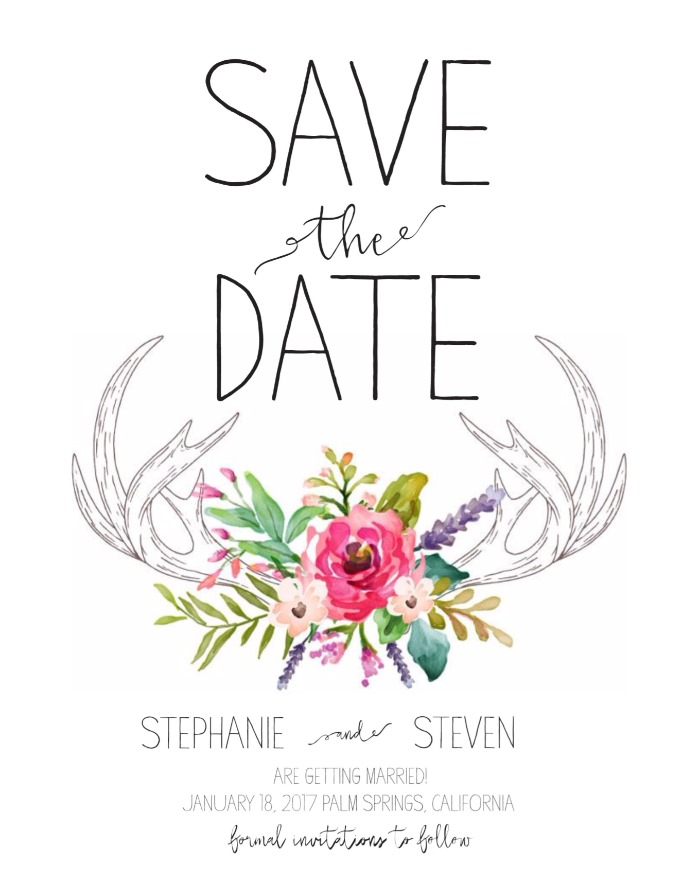 Print Antlers Free Printable Save The Date Card