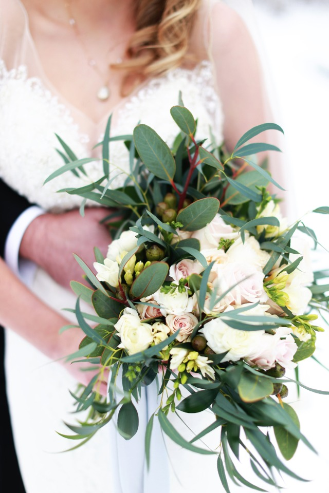 white and green and blush bouquet
