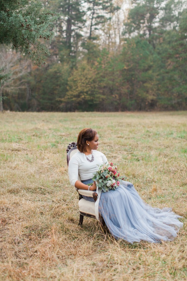 Love her smokey blue tulle skirt