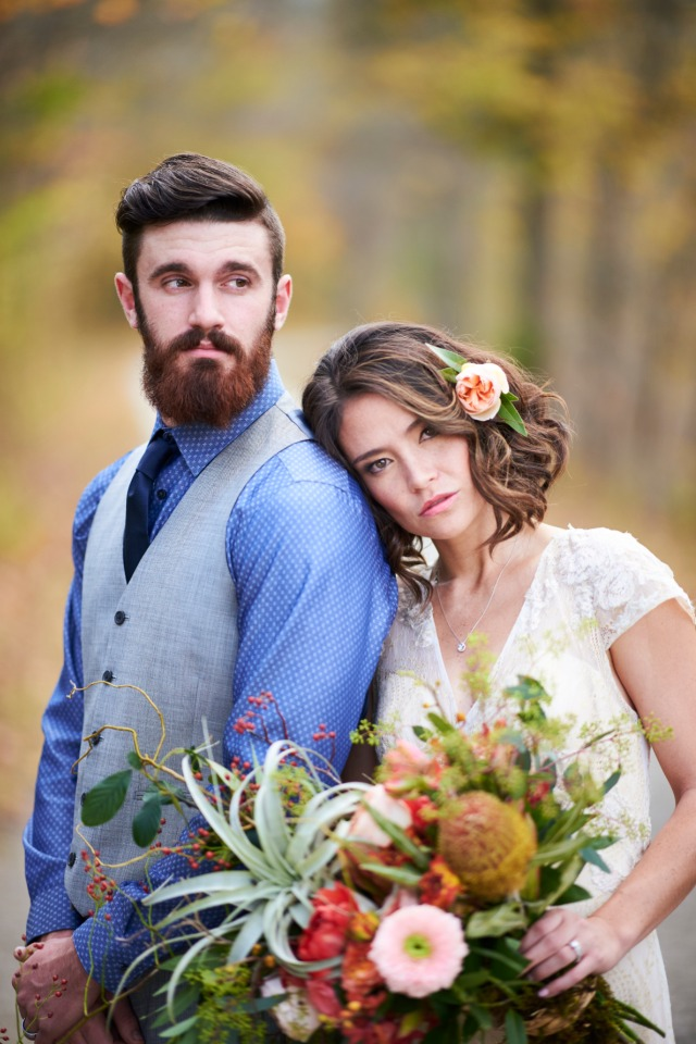 rural chic bride and groom