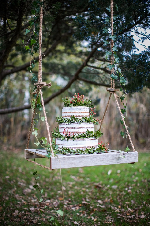cake on swing from Rustic Drift
