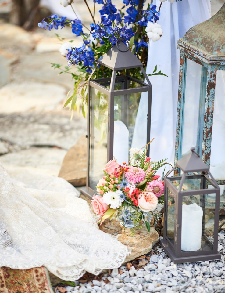 flowers and vintage candle lanterns