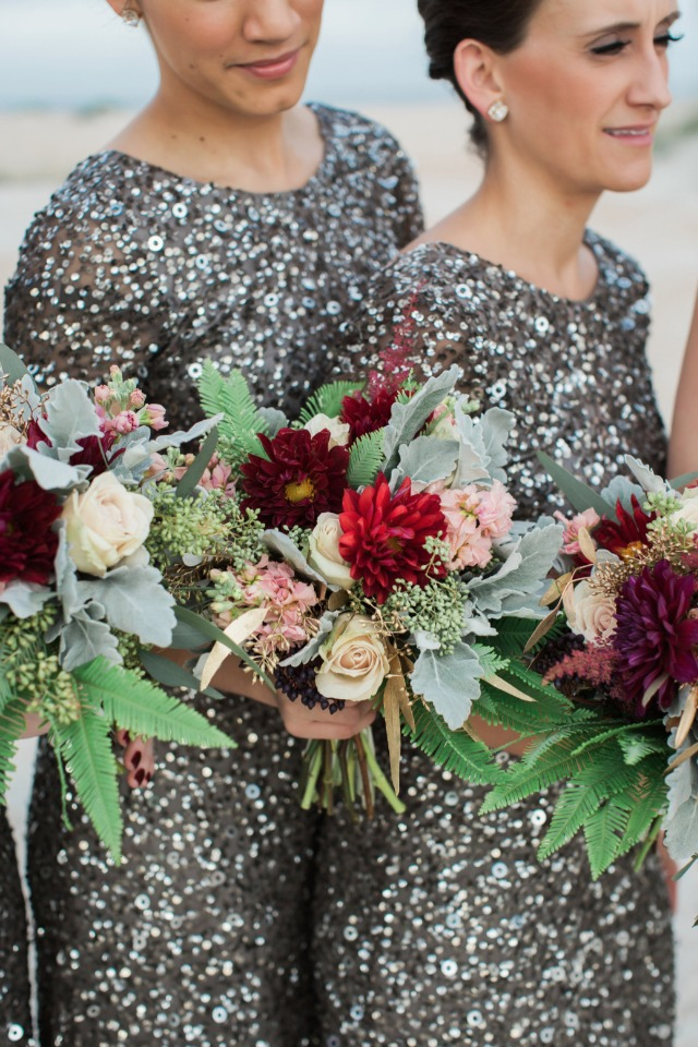 Love the contrast between the flowers and the sparkly dresses