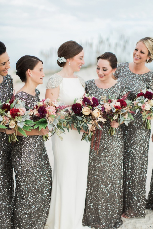 Bridesmaids in sparkles