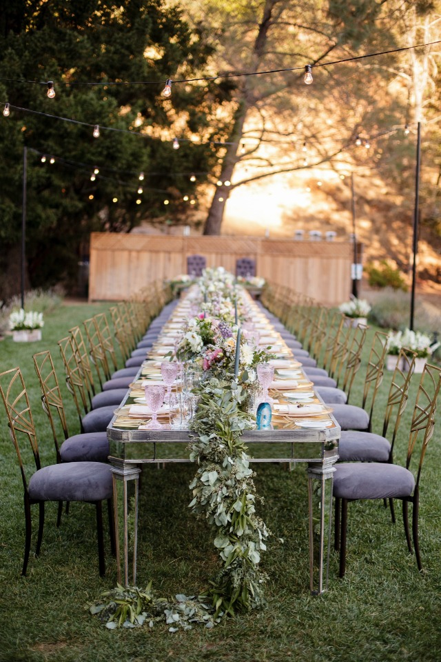 gold and purple wedding table