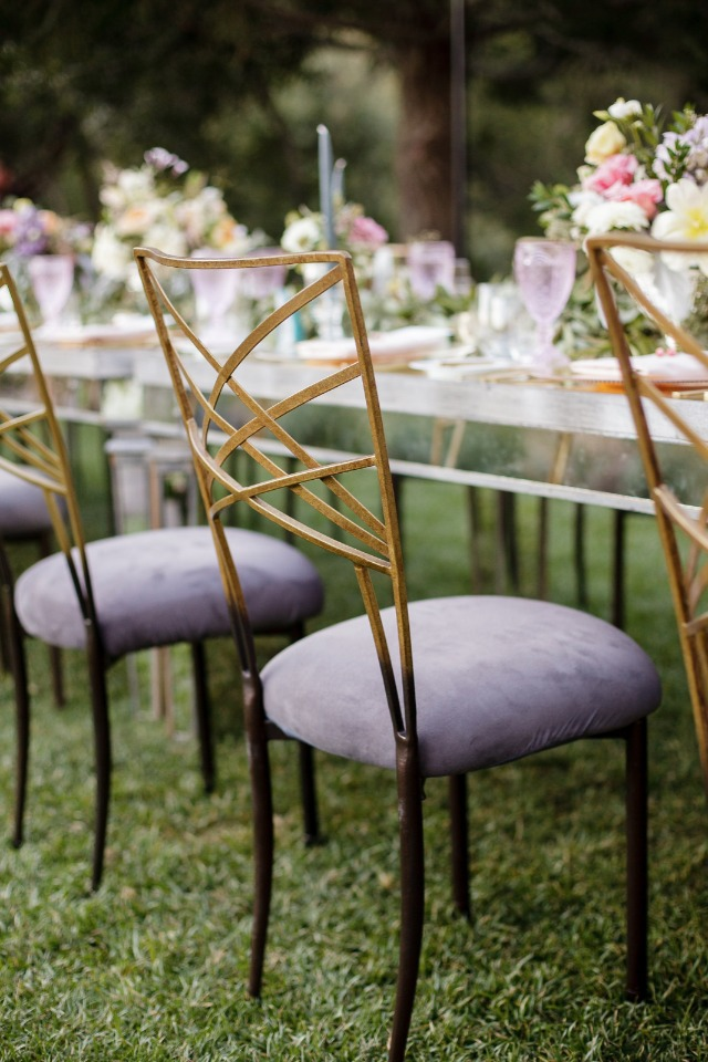 elegant purple and gold wedding chairs
