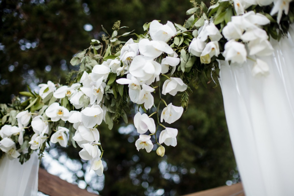 hanging flower garland at the ceremony
