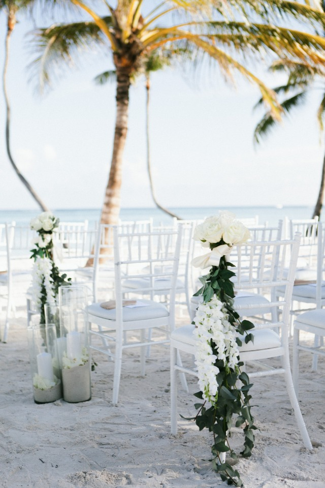 romantic white wedding at the beach
